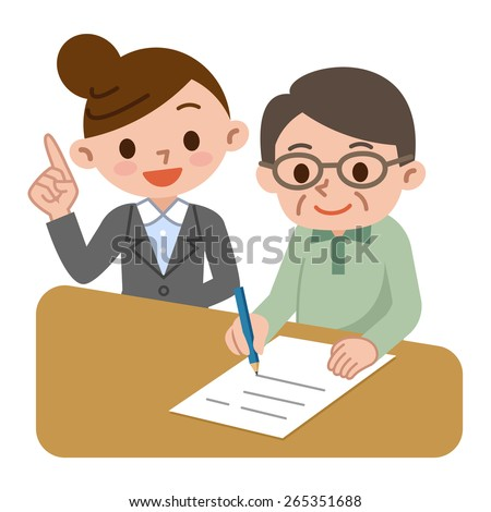 Senior man and caregiver to the study - stock vector