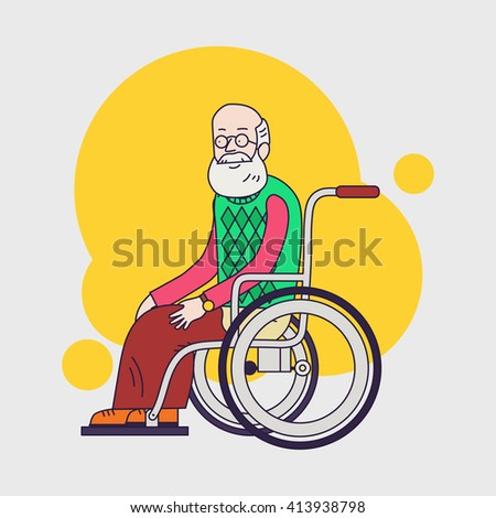 senior man sit in wheelchair. Elderly man with beard and glasses. Linear flat design. Caring for seniors. help for moving. - stock vector