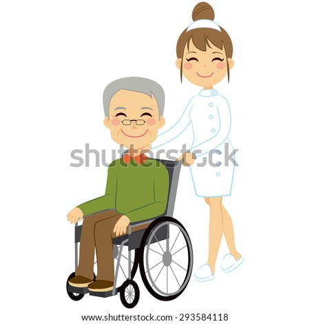 Senior patient in wheelchair with beautiful young nurse - stock vector