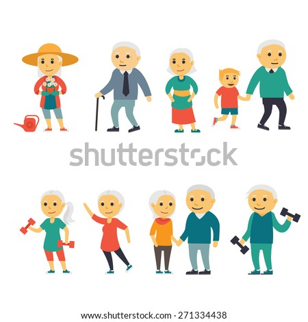 Senior People - Flat illustration, eps 10 no transparencies.  - stock vector