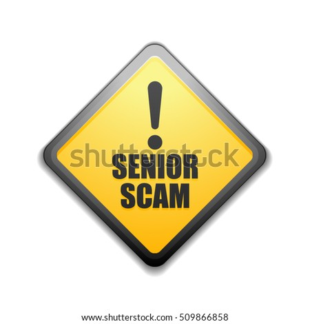 Senior Scam hazard sign illustration
