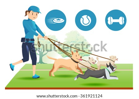 Senior trainer have control her dog.Icon of dogs toy.Pet care in public.People with leader.Exercise and relax with a dog.Pet lovers is Happy.Good owner dog.Graphic design and vector EPS 10. - stock vector