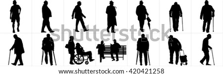 Seniors mature persons in many pose, casual active life. Old people, persons walking with stick. Vector characters isolated on white background. Group of grandpa  vector silhouette. - stock vector