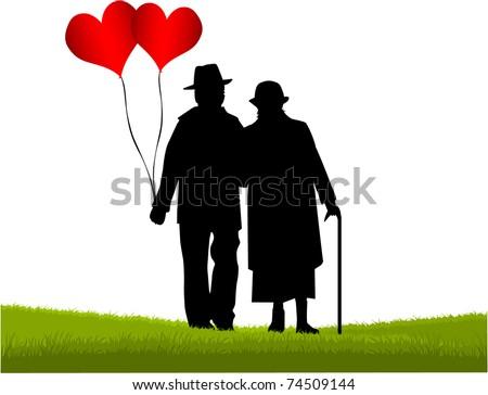 Seniors - the great love - stock vector