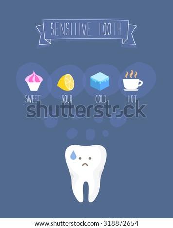 Sensitive tooth flat vector illustration on blue  - stock vector