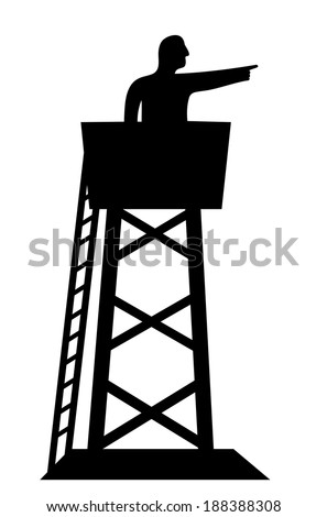 sentinel in a tower - stock vector