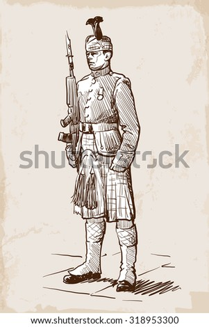 Sentry of the Royal Regiment of Scotland standing during guards change. Sketch over grunge textured background. EPS10 vector illustration.