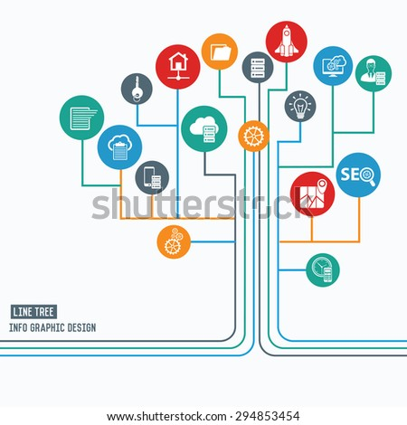 SEO and development concept,Line tree info graphic design,clean vector