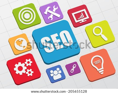 SEO and internet signs - white symbols in colorful flat design blocks, business technology concept icons, vector - stock vector