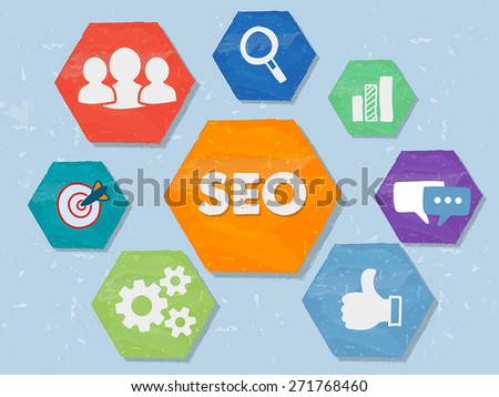 SEO and internet signs - white symbols in colorful grunge flat design hexagons, business technology concept icons, vector - stock vector