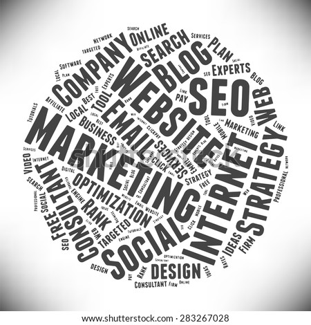 SEO and Marketing. Cloud of words on the topic of search engine optimization sites, e-commerce, promotion. Ball of words on a gray background. Vector illustration. - stock vector