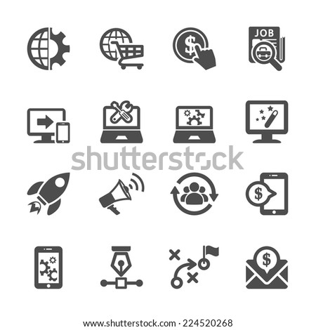 seo and marketing icon set, vector eps10 - stock vector