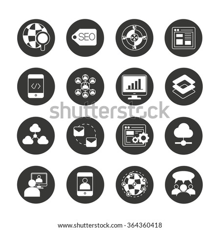 seo and network icons, search engine icons - stock vector