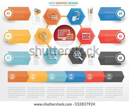 SEO and web development concept info graphic design on white background,vector - stock vector