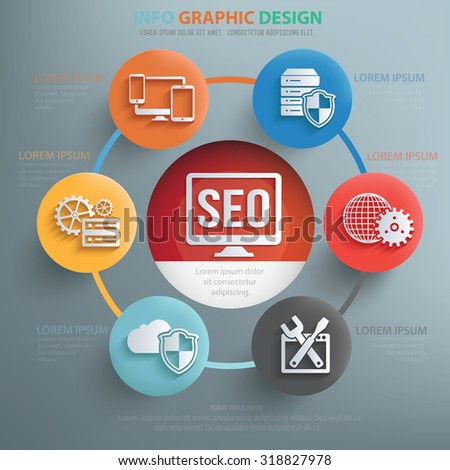 SEO and web development  info graphic design,clean vector - stock vector
