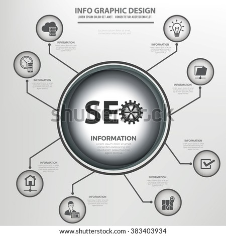 SEO and web development  info graphics design,clean vector - stock vector
