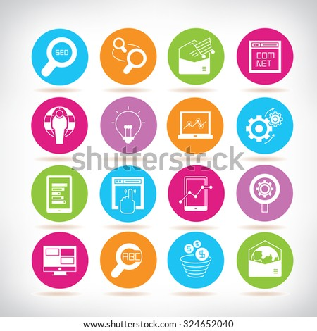 seo and web solution icons - stock vector