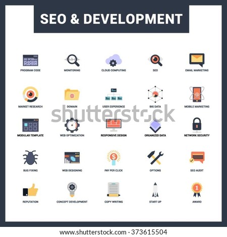 SEO and Website Development Icon Set. Abstract vector set of colorful flat SEO and development icons. Creative concepts and design elements for mobile and web applications. - stock vector