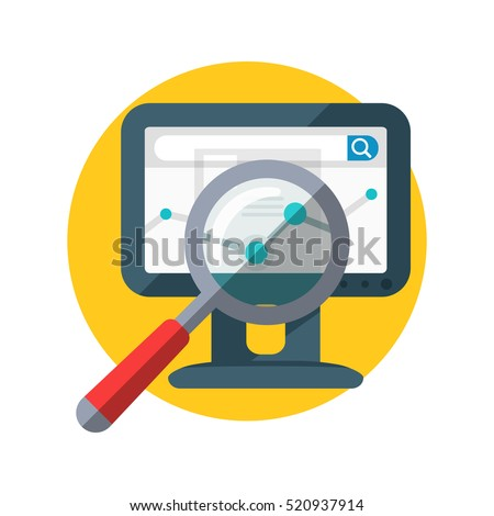 SEO banner. Focused magnifying glass on chart on the monitor display. Data analysis, web construction, mobile applications. Research of information in network. Internet search, e-commerce, vector