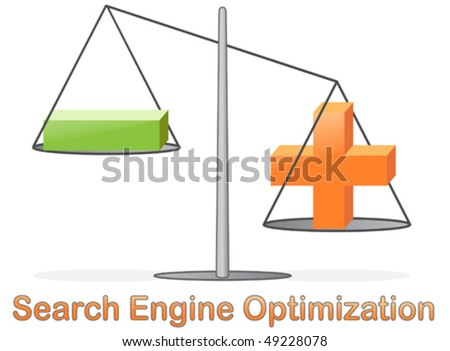 SEO, Concept for Search Engine Optimization, glossy icon with weighing machine, EPS 8 compatible vector illustration