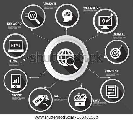 SEO concept,Internet technology,Black version,vector - stock vector