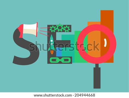 SEO concept. Word SEO consisting of flat icons representing successful search engine optimisation process, vector illustration - stock vector