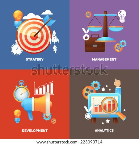 SEO concepts flat icons set with strategy management development analytics isolated vector illustration - stock vector
