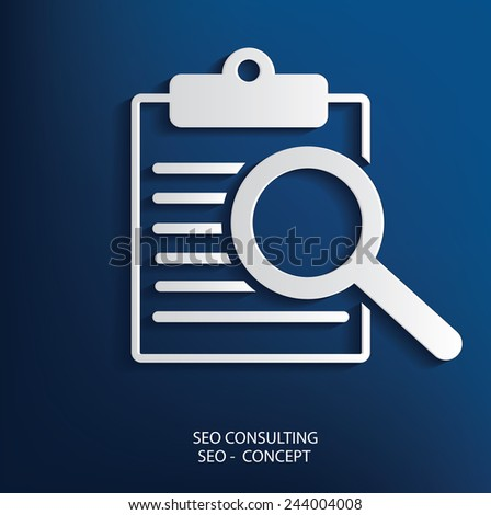 SEO Consulting symbol on blue background, clean vector