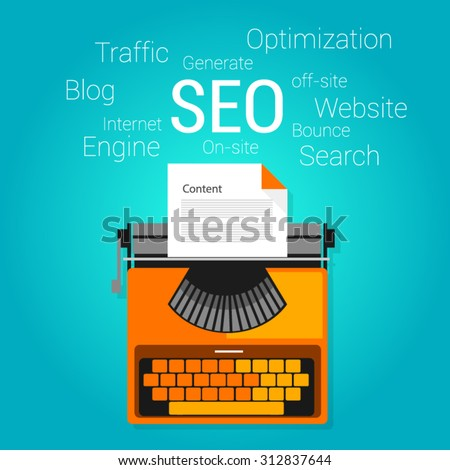 seo content marketing strategy concept search engine optimization - stock vector