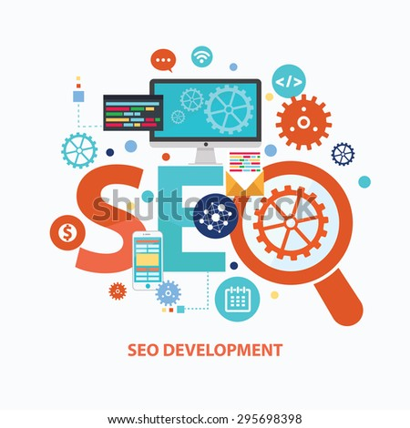 SEO development concept design on white background,clean vector - stock vector
