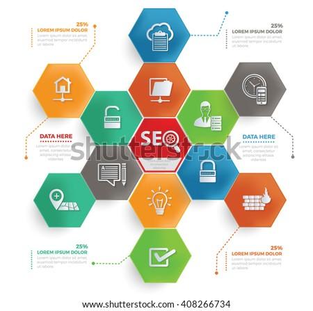 SEO Development concept info graphic design,vector - stock vector