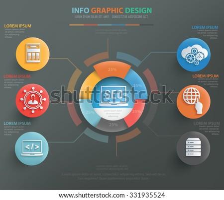 SEO development, web marketing info graphic design, clean vector - stock vector