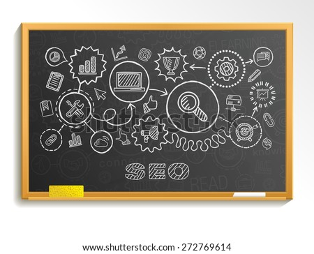 SEO hand draw integrated icons set on school board. Vector sketch infographic illustration. Connected doodle pictograms: marketing, network, analytic, technology, optimize, service interactive concept - stock vector