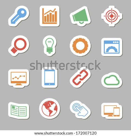 Seo Icons as Labes - stock vector