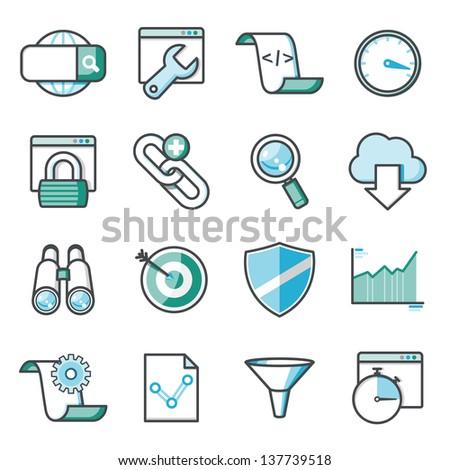 SEO icons set, Harmony series - stock vector
