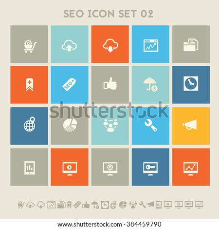 SEO icons, set 2. Multicolored square flat buttons - stock vector