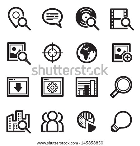 SEO Icons Set 1 - Simpla Series - stock vector