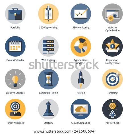 Seo icons set with portfolio copywrighting monitoring website optimization symbols isolated vector illustration - stock vector