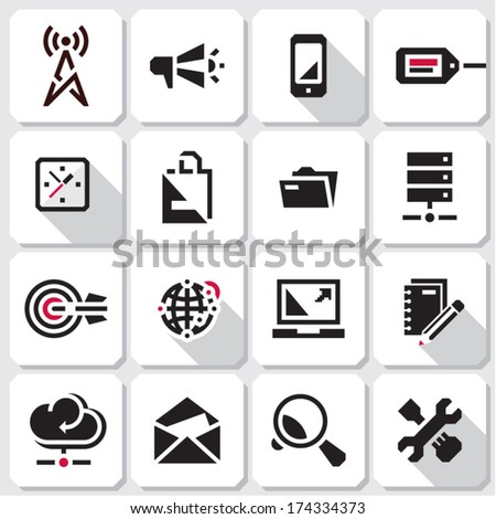 Seo icons. Web black vector icons collection.