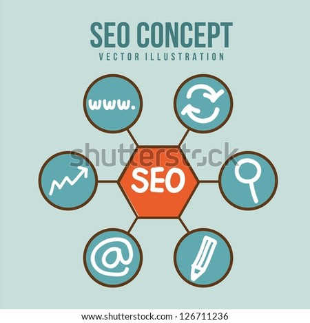 seo illustration with icons  over blue background. vector