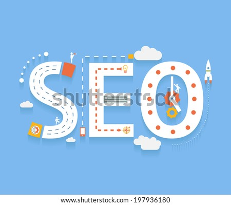 SEO in flat style, success internet searching optimization process illustration concept - stock vector
