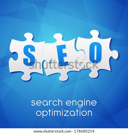 SEO in puzzle pieces, search engine optimization text over blue background, flat design, business technology concept words, vector - stock vector