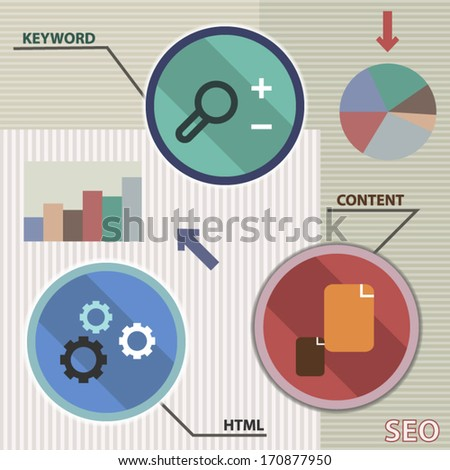 SEO infographic colorful template design illustration - stock vector