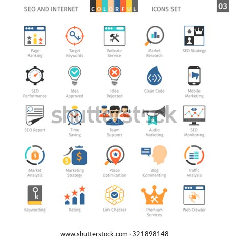 SEO Internet And Development Colorful Icon Set 03 - stock vector