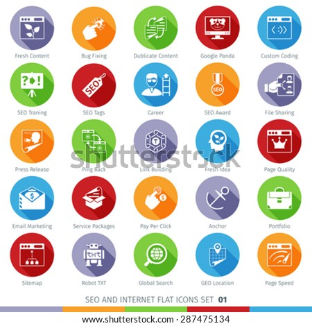 SEO Internet And Development Long Shadow Flat Icon Set 01 - stock vector