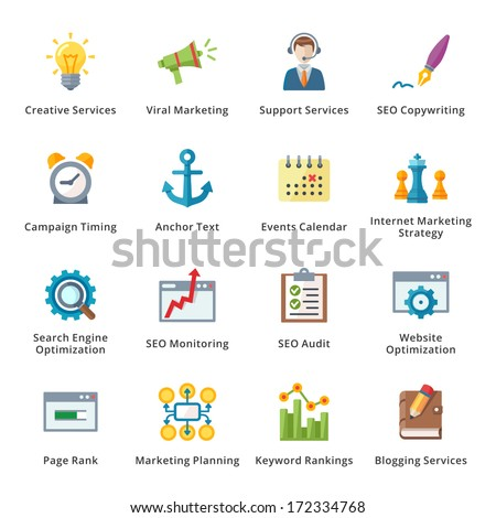 SEO & Internet Marketing Flat Icons - Set 5 - stock vector