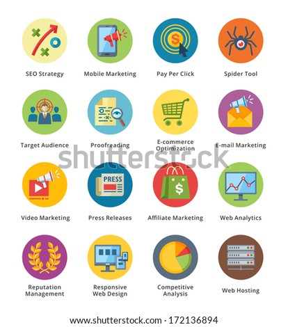 SEO & Internet Marketing Flat Icons Set 3 - Bubble Series  - stock vector