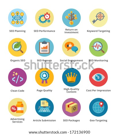 SEO & Internet Marketing Flat Icons Set 4 - Bubble Series  - stock vector