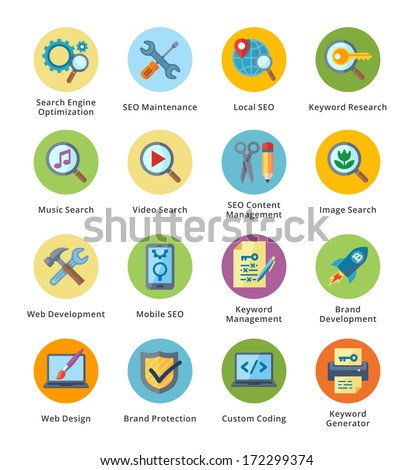SEO & Internet Marketing Flat Icons Set 1 - Bubble Series  - stock vector