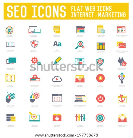 SEO & Internet Marketing icons on white background,vector - stock vector